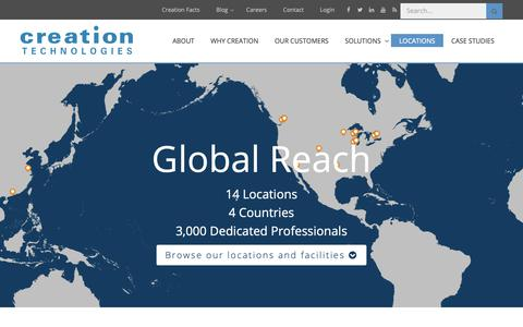 Screenshot of Locations Page creationtech.com - Global Locations | Creation Technologies LP - captured Nov. 11, 2018