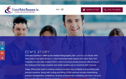 Screenshot of About Page ecmmgt.com - About - E Central Medical Management, Inc. - captured July 8, 2017