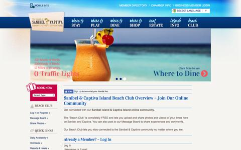 Screenshot of Login Page sanibel-captiva.org - Beach Club Login - Sanibel Captiva Chamber of Commerce - captured Aug. 27, 2016