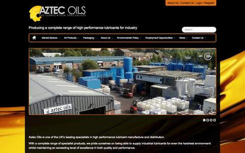 Screenshot of Home Page aztecoils.co.uk - Aztec Oils | Home | Producing a complete range of high performance lubricants for industry - captured Oct. 4, 2014