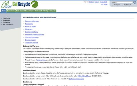 Screenshot of Privacy Page ca.gov - Website Information and Disclaimers: CalRecycle - captured Sept. 13, 2014