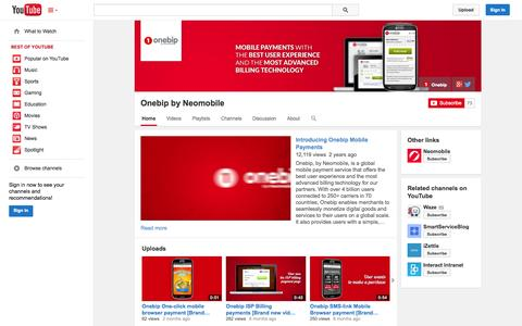 Screenshot of YouTube Page youtube.com - Onebip by Neomobile  - YouTube - captured Oct. 26, 2014