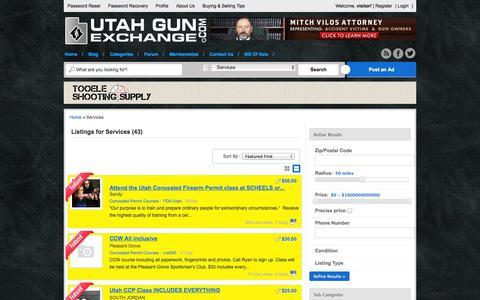 Screenshot of Services Page utahgunexchange.com - Ad Categories  Services - captured Sept. 25, 2014