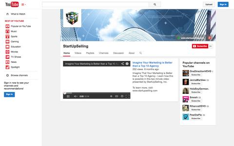 Screenshot of YouTube Page youtube.com - StartUpSelling  - YouTube - captured Oct. 26, 2014