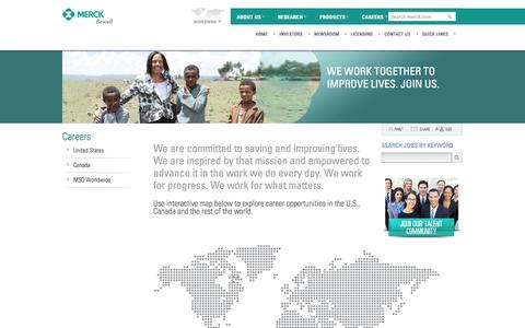Screenshot of Jobs Page merck.com - Careers - captured Sept. 19, 2014
