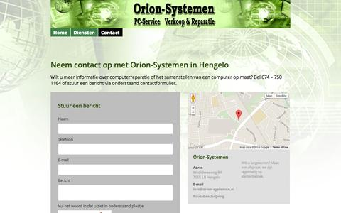 Screenshot of Contact Page orion-systemen.nl - Contact │Orion-Systemen, Hengelo │Computerreparatie regio Enschede - captured Oct. 29, 2014