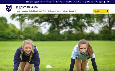 Screenshot of Home Page thewarrinerschool.co.uk - The Warriner School - Home - captured Oct. 20, 2018