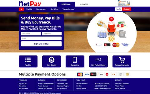 Screenshot of Developers Page netpay.com.ng - NetPay: the fastest way to Send Money, Pay Bills, Buy Ecurrency & Receive Payments Online - captured Sept. 30, 2015