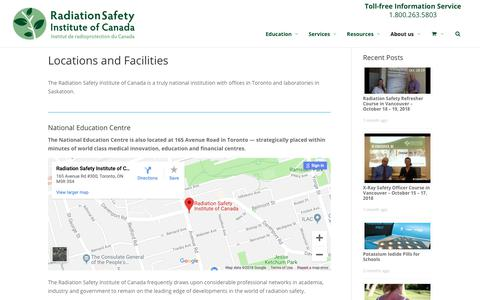 Screenshot of Locations Page radiationsafety.ca - Locations and Facilities - Radiation Safety Institute of Canada - captured Oct. 18, 2018