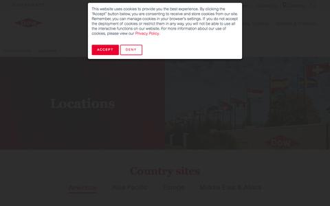 Screenshot of Locations Page dow.com - Locations - captured Sept. 20, 2019