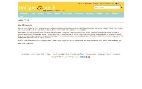 Screenshot of About Page uniquebatik.us - Unique Batik. About Us - captured May 8, 2017