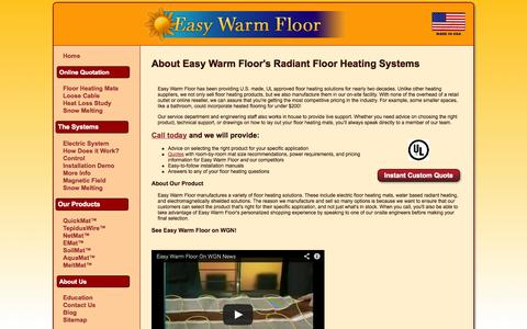 Screenshot of About Page easywarmfloor.com - Floor Heating Manufacturer and Sales - Easy Warm Floor - captured Sept. 27, 2014