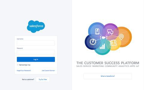 Screenshot of Login Page salesforce.com - Login | Salesforce - captured Oct. 20, 2015