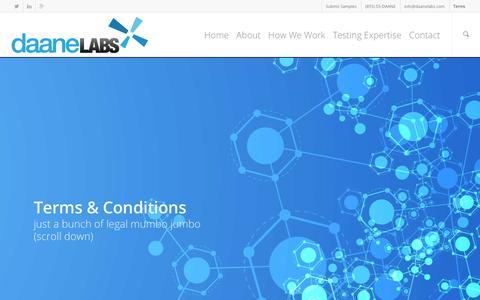 Screenshot of Terms Page daanelabs.com - Terms | Daane Labs - captured Jan. 7, 2016