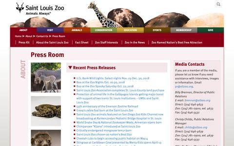 Screenshot of Press Page stlzoo.org - Press Room | Saint Louis Zoo - captured Oct. 2, 2018