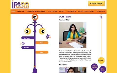 Screenshot of Team Page ipsaa.in - Our Team at ipsaa Day Care in Gurgaon - captured Sept. 21, 2016