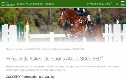 Screenshot of FAQ Page succeed-equine.com - Frequently Asked Questions About SUCCEED for Horses - captured June 22, 2017
