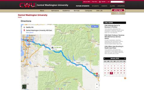 Screenshot of Maps & Directions Page cwu.edu - CWU | Directions - captured Jan. 26, 2016