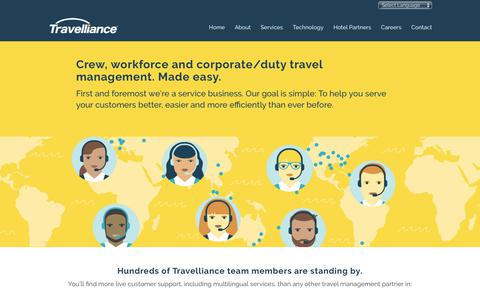 Screenshot of Services Page travellianceinc.com - Corporate Travel Management - Travelliance - captured July 10, 2017