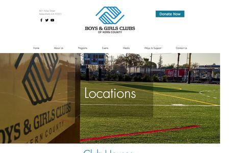 Screenshot of Locations Page bgclubsofkerncounty.org - bgckc | Locations - captured Nov. 23, 2016
