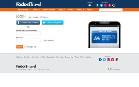 Screenshot of Login Page fodors.com - Login | Fodor's Travel Guides - captured Sept. 18, 2014