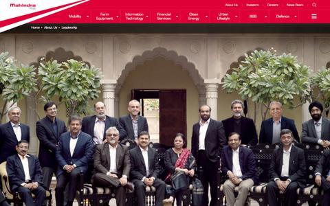 Screenshot of Team Page mahindra.com - Our Leadership at Mahindra Rise - captured Feb. 2, 2016