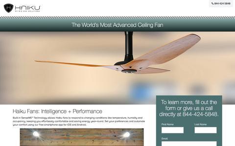 Screenshot of Landing Page bigassfans.com - Smart Ceiling Fans   Haiku Home - captured July 29, 2016