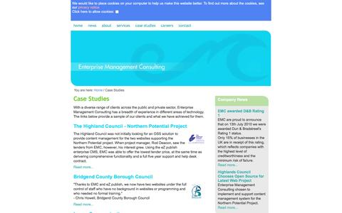 Screenshot of Case Studies Page emcuk.com - Case Studies /  Home - Enterprise Management Consulting - captured May 22, 2016