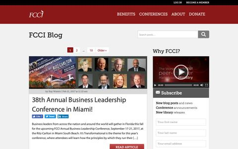 Screenshot of Blog fcci.org - 38th Annual Business Leadership Conference in Miami! - captured Oct. 10, 2018