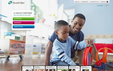 Screenshot of Home Page healthnet.com - Health Net - captured Jan. 26, 2015