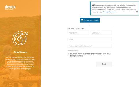 Screenshot of Signup Page devex.com - Default | Join | Devex - captured Oct. 2, 2017