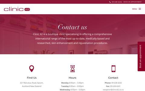 Screenshot of Contact Page clinic42.co.nz - Contact the Clinic 42 Team | Cosmetic Medicine Auckland - captured July 19, 2018