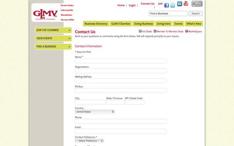 Screenshot of Contact Page glmvchamber.org - Contact Us - GLMV Chamber of Commerce - captured Oct. 1, 2014