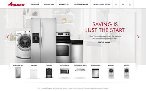 Screenshot of Home Page amana.com - Amana | Amana Appliances - captured Sept. 23, 2014