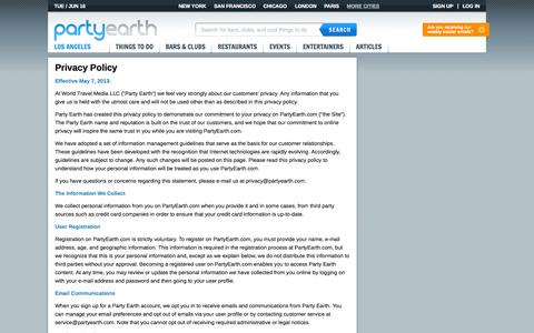 Screenshot of Privacy Page partyearth.com - Privacy Policy | Party Earth - captured June 16, 2015