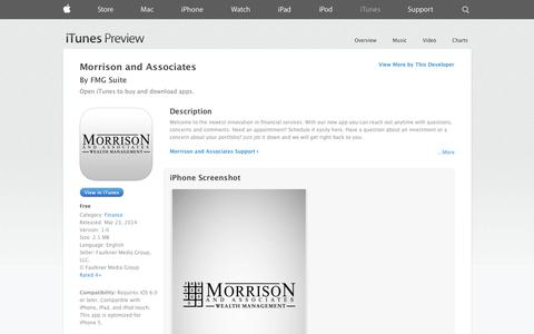 Screenshot of iOS App Page apple.com - Morrison and Associates on the App Store on iTunes - captured Oct. 26, 2014