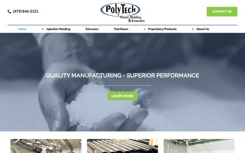 Screenshot of Home Page polytechmolding.com - PolyTech Plastic Molding & Extrusion - captured July 19, 2018