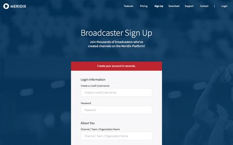 Screenshot of Signup Page meridix.com - Sign Up | Live Streaming HD Video & Audio Platform for Sports | Meridix - captured Sept. 20, 2018