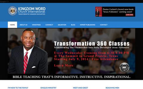 Screenshot of Home Page kingdomword.org - Nondenominational Bible Teaching Church | Arlington | Grand Prairie Texas - captured Oct. 6, 2014