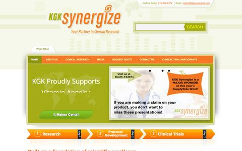 Screenshot of Home Page kgksynergize.com - KGK Synergize - captured Oct. 6, 2014
