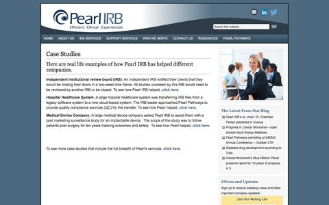 Screenshot of Case Studies Page pearlirb.com - Case Studies   Pearl IRB - captured Oct. 29, 2016