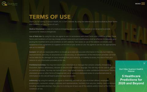 Screenshot of Terms Page quantum-health.com - Quantum Health | Terms of Use - captured Jan. 21, 2020