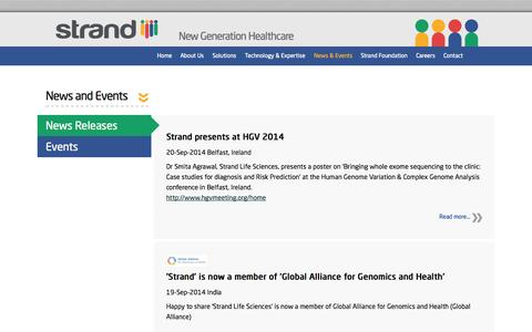 Screenshot of Press Page strandls.com - News and Events | Strand Life Sciences - captured Oct. 7, 2014