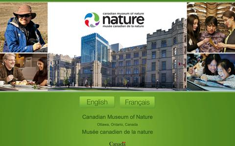 Screenshot of Home Page nature.ca - Canadian Museum of Nature - Musée canadien de la nature - captured Sept. 26, 2018