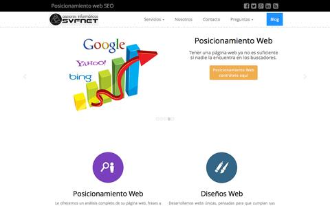 Screenshot of Home Page svfnet.eu - Posicionamiento web en buscadores natural - técnicas SEO - captured Sept. 11, 2015