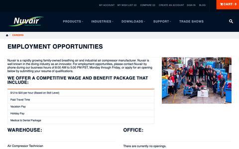 Screenshot of Jobs Page nuvair.com - Employment Opportunities | Nuvair - captured Nov. 4, 2018