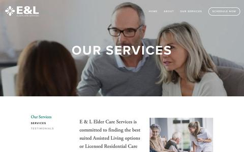 Screenshot of Services Page eandleldercareservices.com - Services — E&L Elder Care Services - captured Oct. 9, 2018