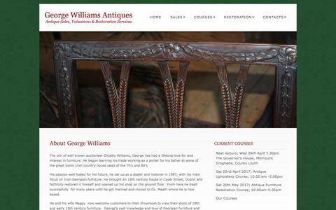 Screenshot of About Page georgian-antiques.com - Irish Antiques | Expert Valuer & Restorer | Georgian Furniture Specialist | George Williams Antiques - captured April 11, 2017