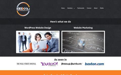 Screenshot of Services Page bbx4u.com - Custom WordPress Website Design and Marketing Solutions by BBX 4U™ — Better Business eXposure™ - captured Oct. 30, 2014
