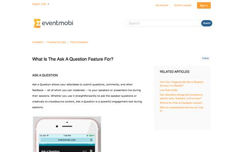 Screenshot of Support Page eventmobi.com - What is the Ask a Question feature for? – EventMobi - captured Feb. 24, 2018